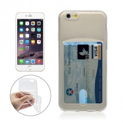 iPhone 6+/6S+ silicone case with card slot - Transparent