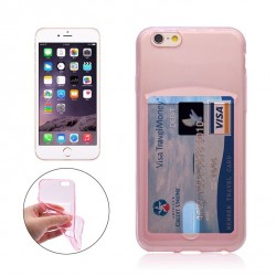 iPhone 6 Plus / 6S Plus silikoni kuoret pankkikortti-paikalla  - Pinkki