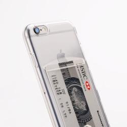 iPhone 6/6S silikoni kuoret pankkikortti-paikalla  - Läpinäkyvä