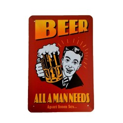 Póster de metal vintage para decoración - Beer alla man needs