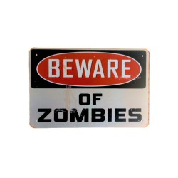Póster de metal vintage para decoración - Beware of Zombies