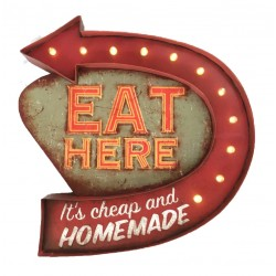 Eat Here - Vintage LED Metal Light Sign