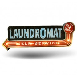 Laundromat - Vintage LED Metal Light Sign